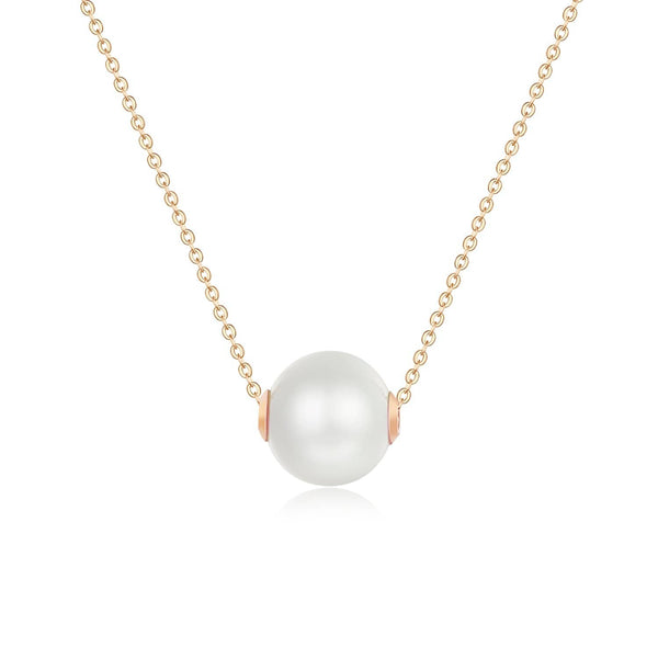 18k Solid Gold 9mm Akoya Pearl Necklace - Purplemay Jewellery