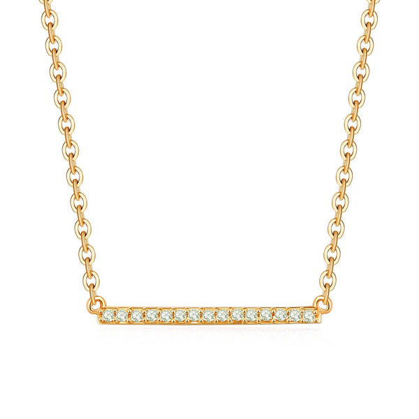 18k Solid Gold Classic Diamond Horizontal Bar Necklace - Melbourne, Australia