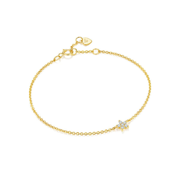 18k Solid Gold Diamond Flower Bracelet - Melbourne, Australia