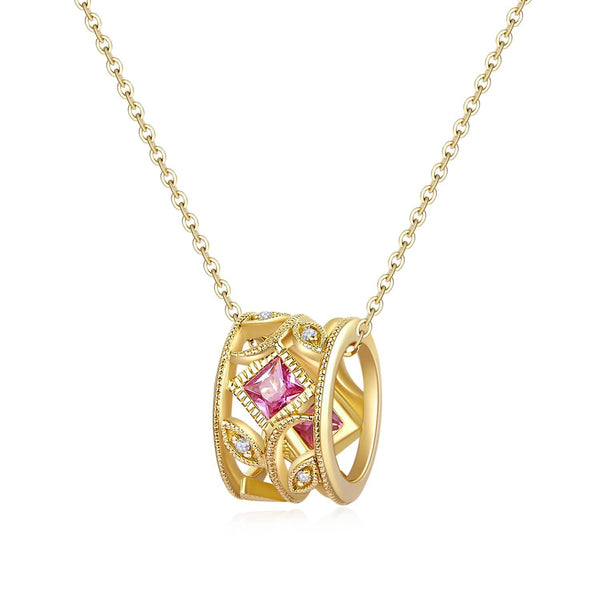 18k Solid Gold  Sapphire Wheel Necklace