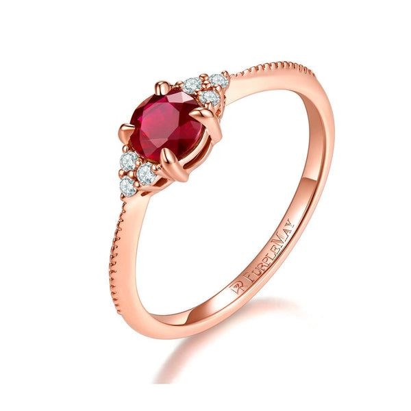 18k Solid Gold Round Ruby and Diamond Ring - Melbourne, Australia