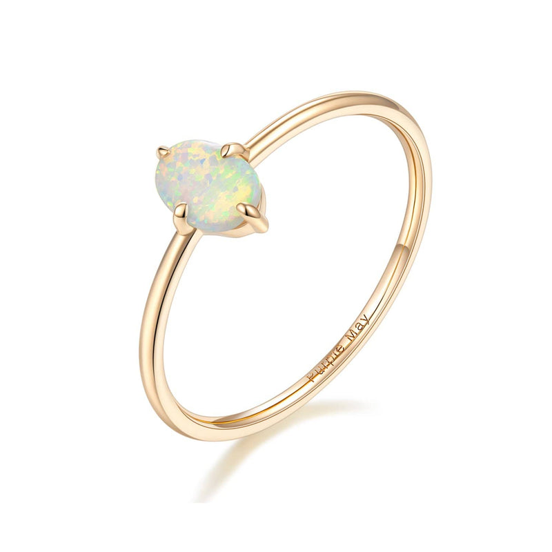Rose Gold Opal Ring in 18K Solid Gold - Wedding and Engagement Rings - Melbourne, Australia