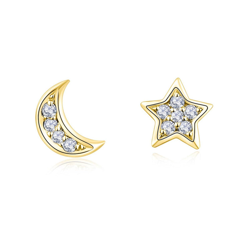 Star and Moon diamond Earrings in 18k Solid Gold - Melbourne, Australia