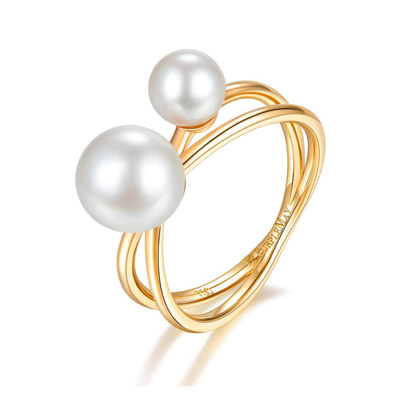 18k Solid Gold Due Akoya Pearl Double Layer Ring | Rings Melbourne Australia