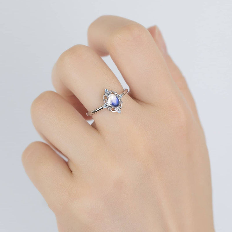18k Solid Gold Moonstone and Blue Topaz Ring - Melbourne, Australia