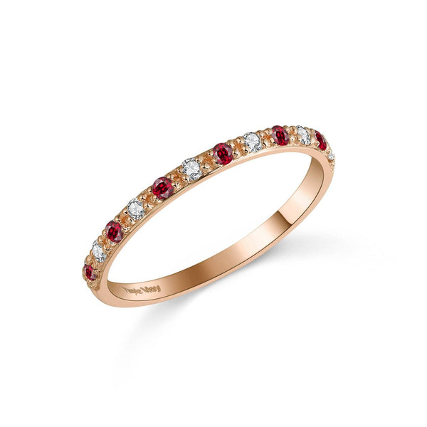 18k Solid Gold Half Eternity Diamond Ruby Wedding Ring Band - Melbourne, Australia