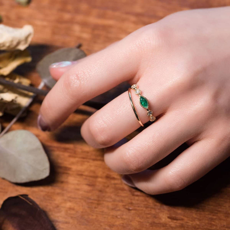 18k Solid Gold Vintage Marquise Emerald Ring - Melbourne, Australia