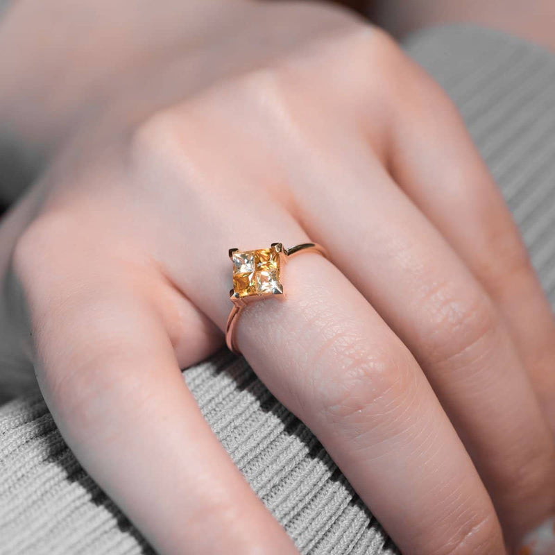 18k Solid Gold Square  Yellow Sapphire Ring - Melbourne, Australia