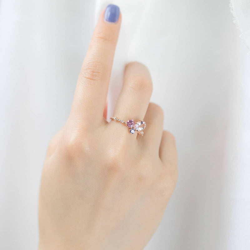 18k Solid Gold Pink and Lilac Sapphire Diamond Cluster Ring - Melbourne, Australia