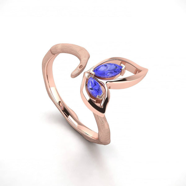 18K SOLID GOLD BUTTERFLY TANZANITE OPEN RING - Melbourne, Australia