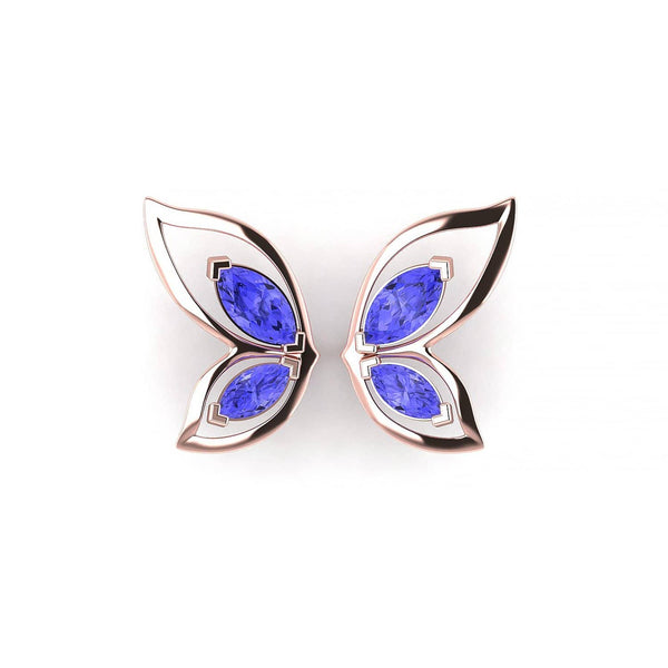 18K SOLID GOLD BUTTERFLY TANZANITE STUD EARRINGS - Melbourne, Australia