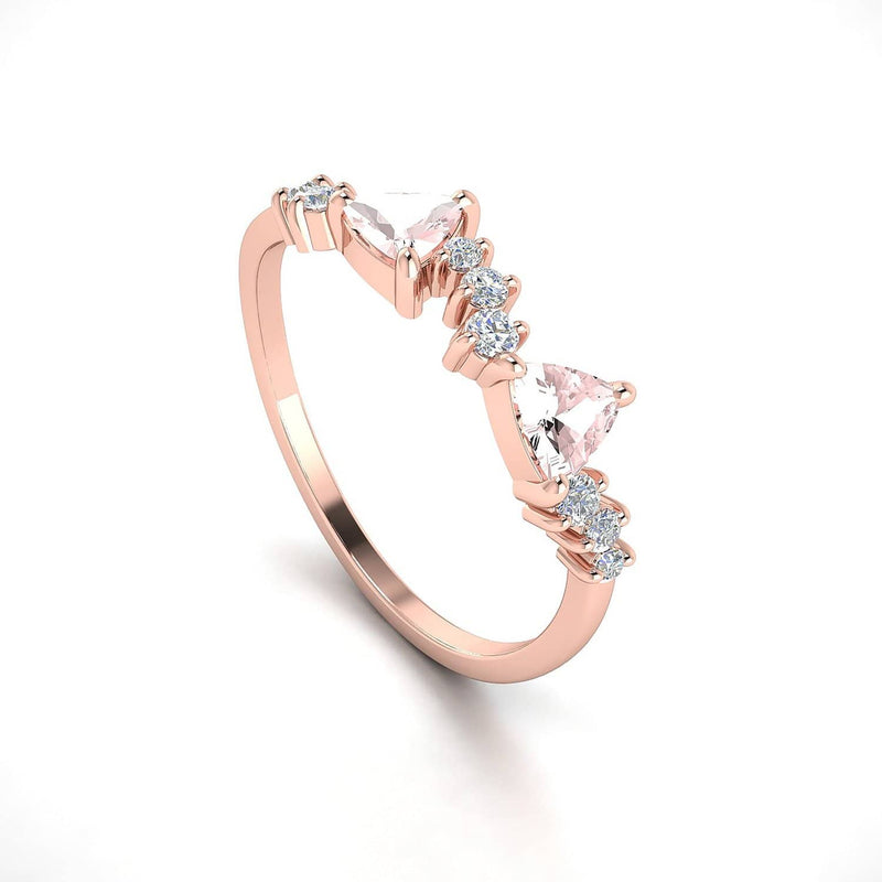 18k Solid Gold Peach Morganite Cluster Ring - Melbourne, Australia