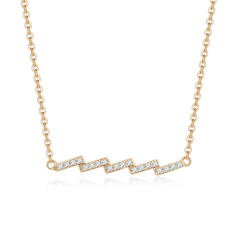 18k Solid Gold Lightning Element Diamond Necklace - Melbourne, Australia