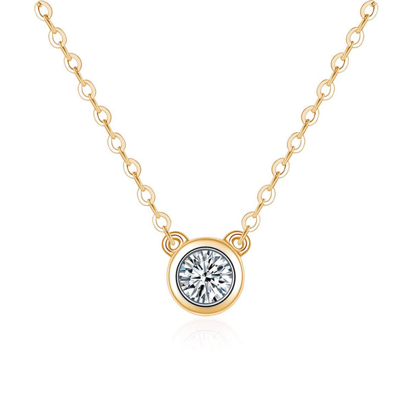 18k Solid Gold Single Bezel Set Diamond Necklace - Melbourne, Australia
