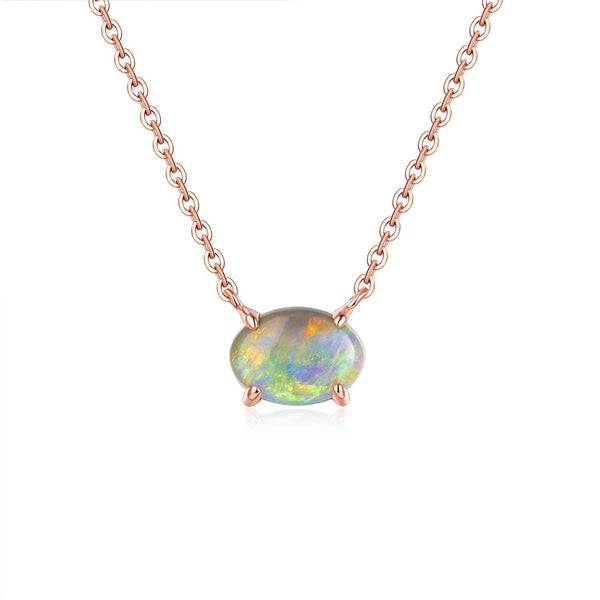 18k Solid Gold Simply Australian Opal Necklace - Purplemay Jewellery