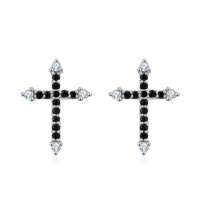 Cross Black Diamond Stud Earrings - Melbourne, Australia