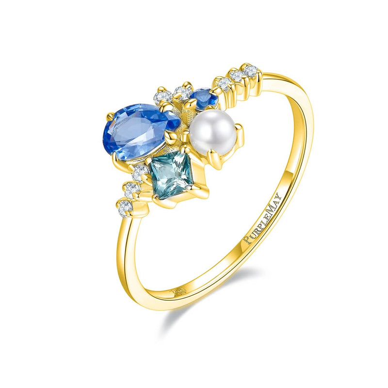 18k Solid Gold Blue Sapphire and Akoya Pearl Cluster Ring - Melbourne, Australia
