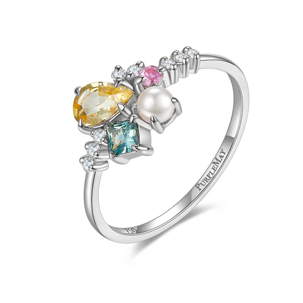 18k Solid Gold Yellow Sapphire and Akoya Pearl Cluster Ring