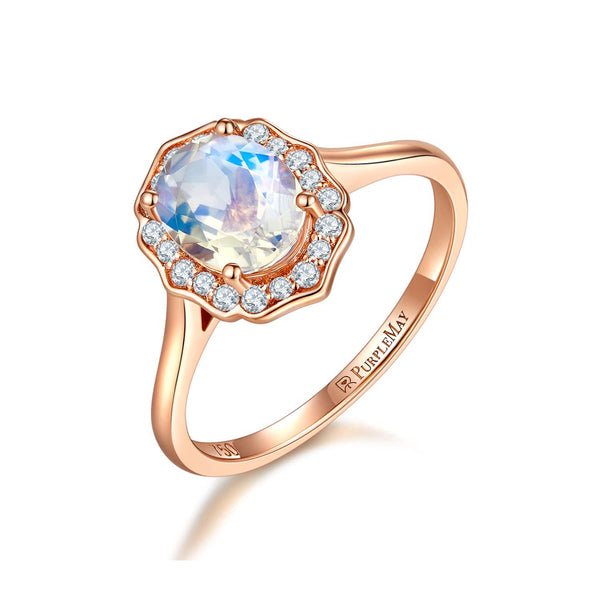 18k Solid Gold Floral Diamond Halo Moonstone Engagement Ring - Melbourne, Australia