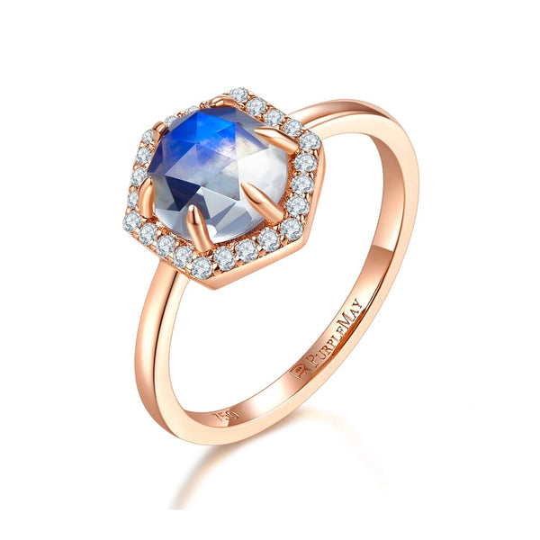 18k Solid Gold Hexagon Moonstone and Diamond Halo Engagement Ring - Melbourne, Australia