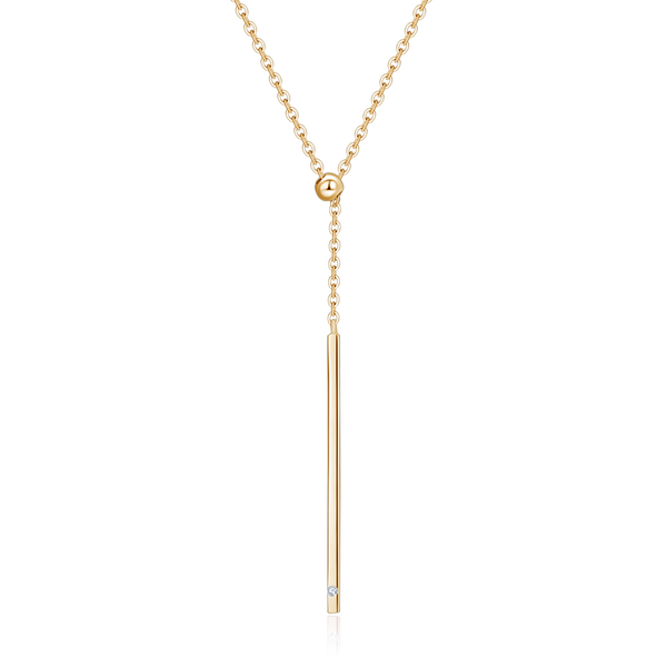 18k Solid Gold Vertical Diamond Bar Necklace - Melbourne, Australia