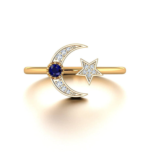 18k Solid Gold Crescent Moon and Star Diamond Ring - Melbourne, Australia