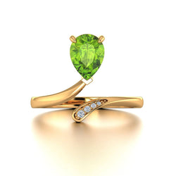 18k Solid Gold Pear Shape Peridot Diamond Open Ring | Rings Melbourne Australia