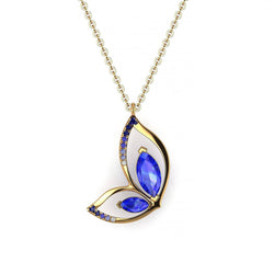 18K SOLID GOLD BUTTERFLY TANZANITE NECKLACE - Melbourne, Australia