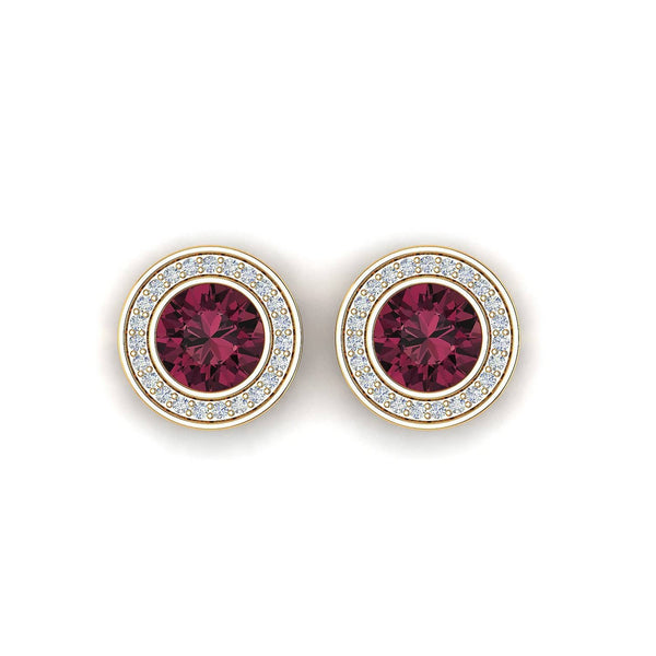 18K SOLID GOLD RED TOURMALINE EARRINGS - Melbourne, Australia