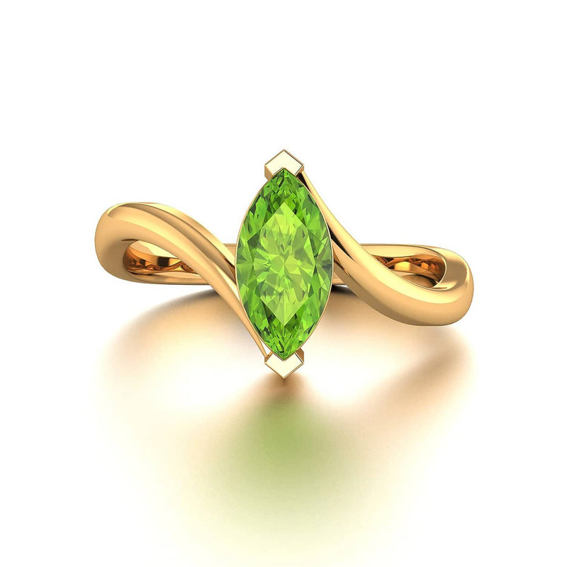 18k Solid Gold Marquise Shape Peridot Wedding Ring | Rings Melbourne Australia