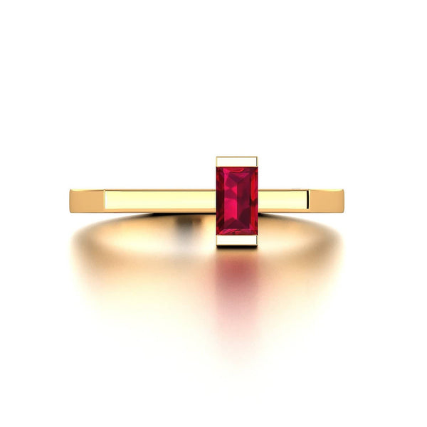 18K Solid Gold Square Shaped Ruby Ring | Rings Melbourne Australia