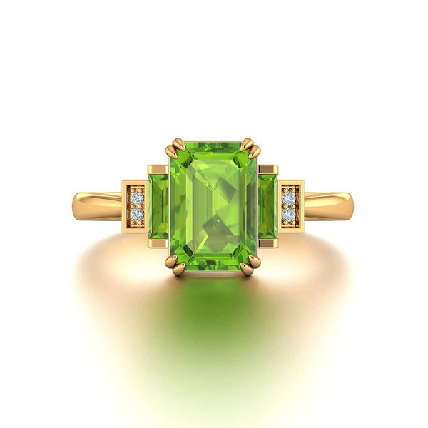 18k Solid Gold Peridot Diamond Baguette Wedding Ring | Rings Melbourne Australia