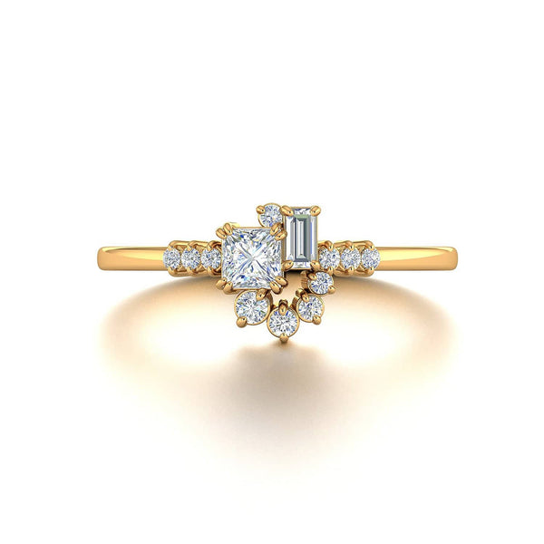 princess cut engagement rings | 18k Solid Gold Sparkle Diamond Cluster Ring - Melbourne, Australia