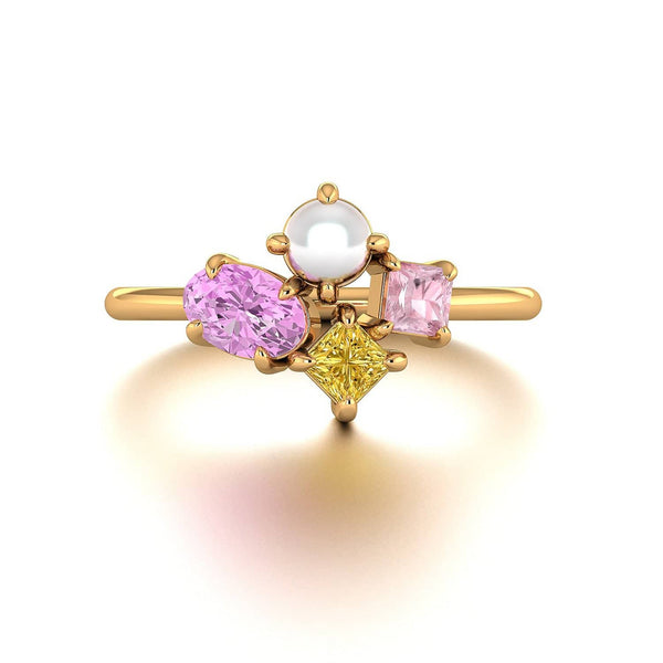 18k Solid Gold Oval Pink Sapphire and Akoya Pearl Cluster Ring | Rings Melbourne Australia