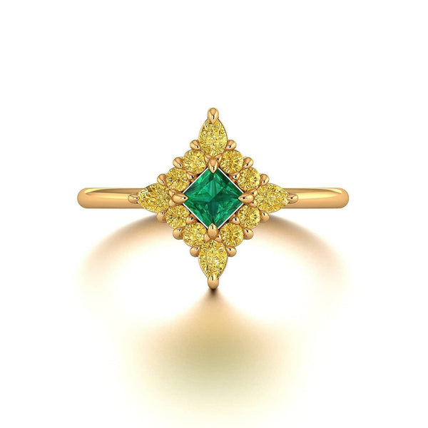 18K SOLID GOLD ANTIQUE DECO SQUARE EMERALD ENGAGEMENT RING - Melbourne, Australia