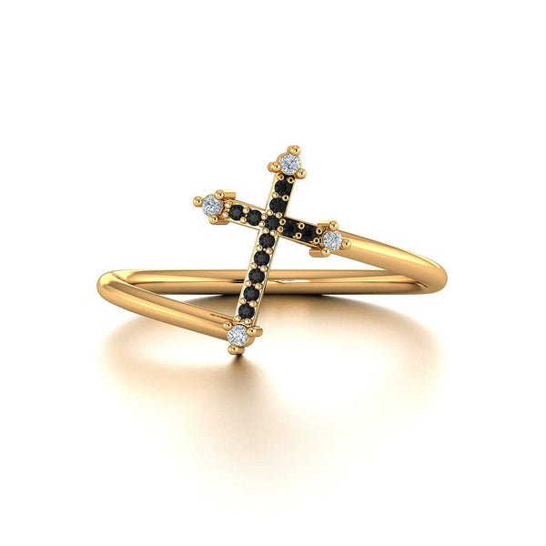 18k Solid Gold Cross Black Diamond Ring - Melbourne, Australia
