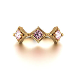 18k Solid Gold Antique Deco Pink Sapphire Ring - Melbourne, Australia