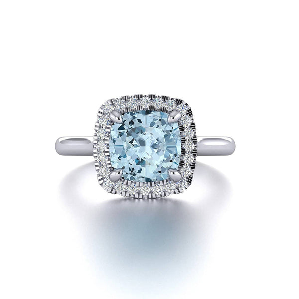 18K SOLID GOLD AQUAMARINE DIAMOND ENGAGEMENT RING - Melbourne, Australia