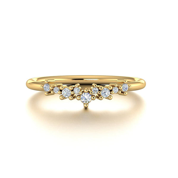 18k Solid Gold Stacking Cluster Diamond Wedding Ring - Melbourne, Australia