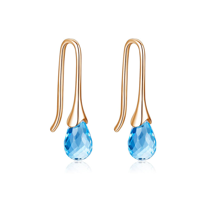 18k Solid Gold Pear Shape Natural Topaz Hoop Earring - Melbourne, Australia