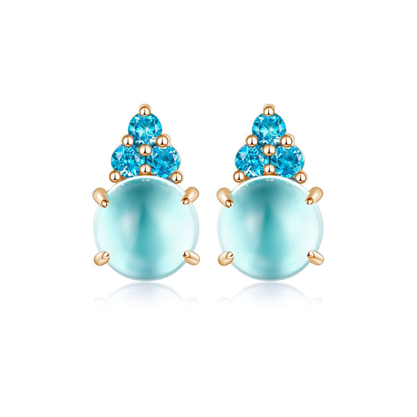 18k Solid Gold Round Aqua Topaz Stud Earrings - Melbourne, Australia