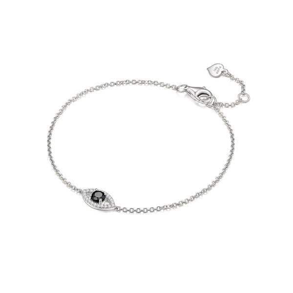Certified Black Diamond Bracelets Melbourne | 18k Solid Gold Evil Eye Black and White Diamond Bracelet - Australia