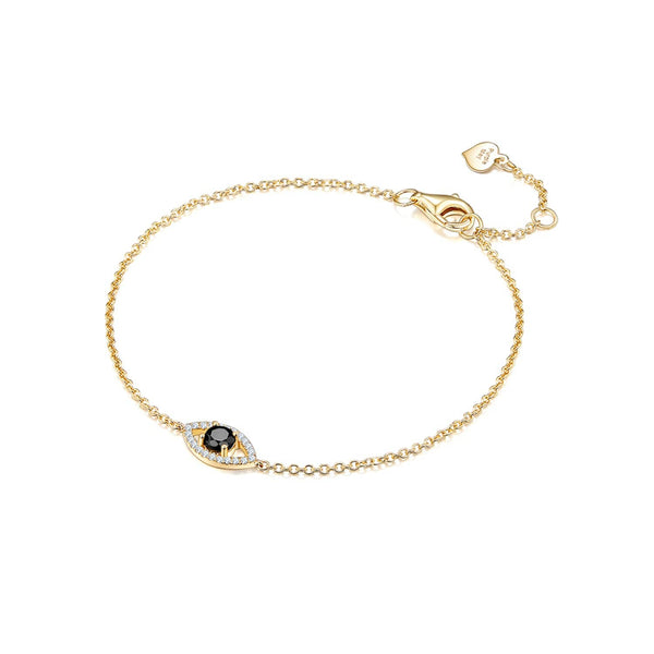 Black Diamond Bracelets | 18k Solid Gold Evil Eye Black and White Diamond Bracelet - Melbourne, Australia