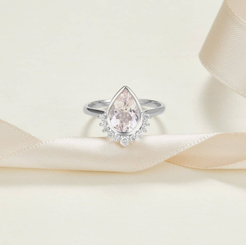 18k Solid Gold 1.5ct Pear Shape Pink Morganite & Diamond Engagement Ring - Melbourne, Australia