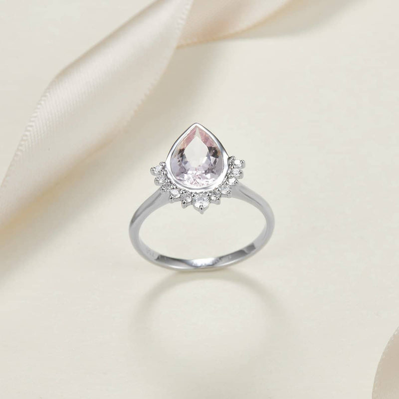 18k Solid Gold 1.5ct Pear Shape Pink Morganite Engagement Ring - Melbourne, Australia