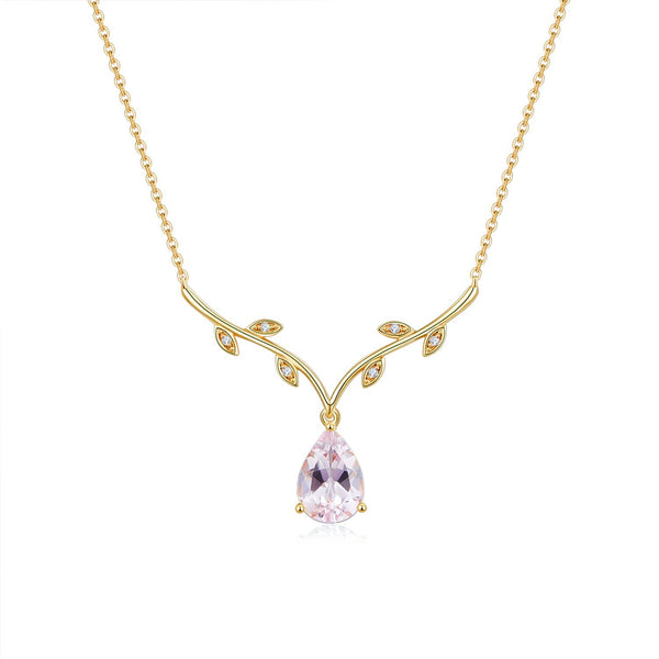 18k Solid Gold Pink Morganite Diamond Necklace - Melbourne, Australia