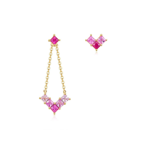 18k Solid Gold Gradient Pink Sapphire Stud and Drop Earrings - Melbourne, Australia