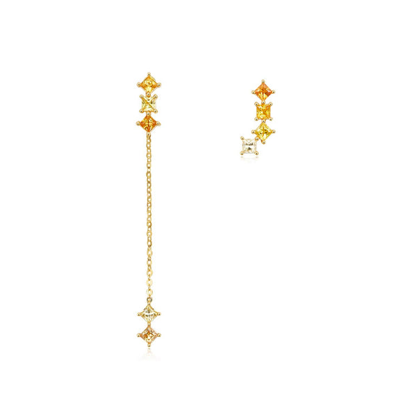 18k Solid Gold Gradient Yellow Sapphire Stud and Drop Earrings - Melbourne, Australia