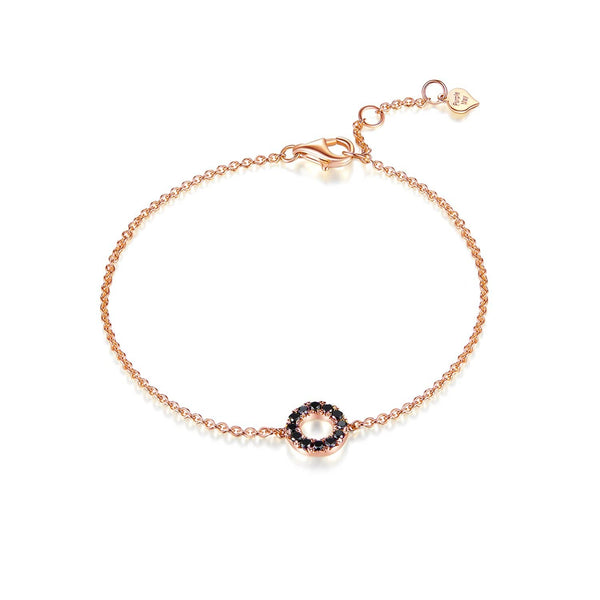 18k Solid Gold Circle Black Diamond Bracelet - Melbourne, Australia