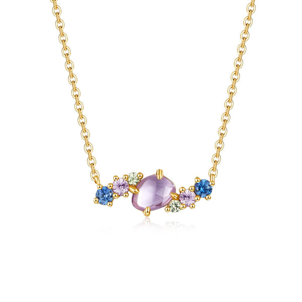 18k Solid Gold Coloured Sapphire Clustered Necklace - Purplemay Jewellery